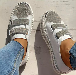 Glitzer Schuhe Schnalle weiss Silber