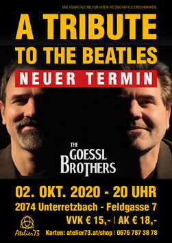 "Karte ""A Tribute To The Beatles"" - The Goessl Brothers 02. Okt. 2020"