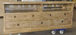 Sideboard, Teak, mit 2 offenen Fächern und 5 Schubladen...auch als HiFi-Board verwendbar