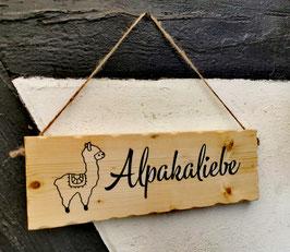 """Holzschild """"Alpakaliebe"""""""