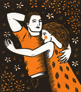 Linogravure Amour (un) / Linocut Love (one)