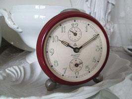 VINTAGE Alter großer weinroter Wecker ShabbyChic rot Uhr DUGENA AMIGO 50er Jahre