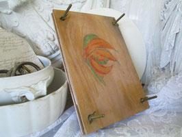 Alte Blumenpresse Blätterpresse Holz bemalt