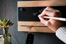 Schlüsselbrett - Eiche, mit magnetischer Kreidetafel und Kreidestift