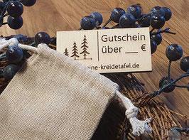Geschenkgutschein aus Holz im Jutesäckchen