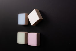 Pastell Magnete aus Holz - Quadrat / für Magnettafel / Kühlschrankmagnet