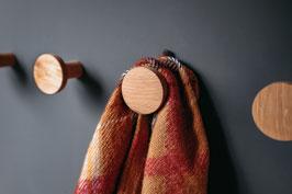 Wandhaken aus Holz, Eiche, Rundhaken, Garderobe, Haken, Kleiderhaken, Garderobenhaken, Dots, Hutablage