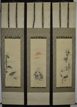 3er Set! Fukuroku, Kranich & Schildkröte von Kano Isenin Naganobu