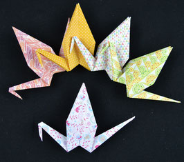 "Handgefertigtes Origami-Kranich Set ""Springtime I"""
