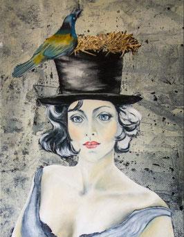 Artprint blue bird flies with me