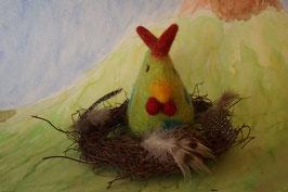 Filzhuhn, Huhn, Osterdekoration, Filztier, Huhn im Nest