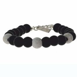 Funkelnde Silber Kugel mit Onyx Steinen