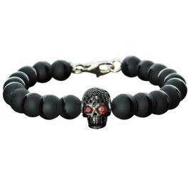 Devil Armband 923 Sterling Silber Skull mit Onyx