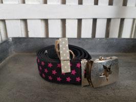 kindergürtel, schwarz mit pinken sternen