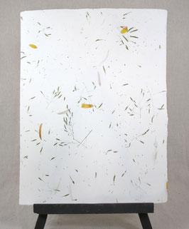Coton pur avec inclusions fleurs jaunes et graminées