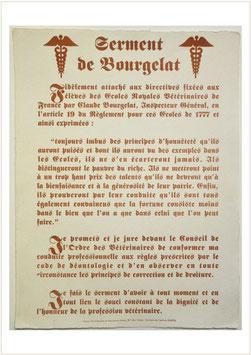 """Serment des Vétérinaires dit """"Bourgelat"""""""