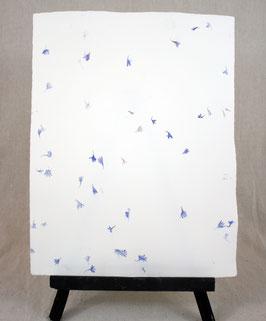 Coton pur avec inclusions fleurs bleues