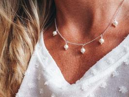 Silberkette mit 5 Perlen 925 Silberkette