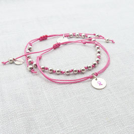 925 ArmbandSET in Pink - Schleife - handgefertigt