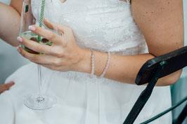 Perlenarmband / Symbolarmband -- Infinity oder Blume des Lebens 925 Silber