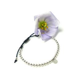 Silber Kugelarmband mit einem Plättchen 925 Silberkugelarmband