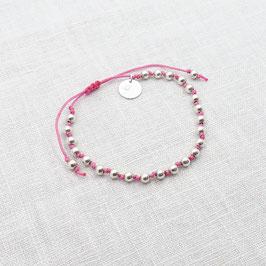 Kugelarmband in Pink mit einem Plättchen 925 Silberkugelarmband