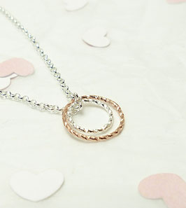 Andressa - Halskette doppel Karma rosevergoldeter Kreis und ein kleinerer silber Kreis 925 Sterling Silber