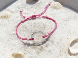 Dein Spruch - Karma / Circle 925 Silber Stoffarmband