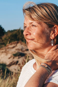 Andressa - oceanlover Bicolor 925 Sterling Silber Ohrringe mit rose Plättchen - Flosse Meerjungfrau