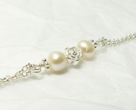 Rose und Perlen 925 Silberarmband / Brautschmuck