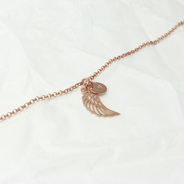 Engelsflügel mit Herz 925 Silberarmband rosévergoldet