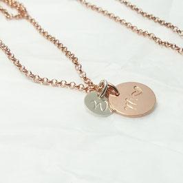 rosévergoldete Namenskette mit Initialen 925 Silberkette