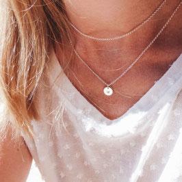 Sternzeichenkette Chrushed Look 1 rundes Plättchen 925 Silberkette