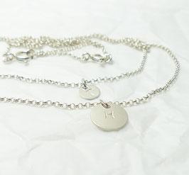 Layer Ketten -  2 Namensketten mit 2 runden Plättchen  925 Silberkette