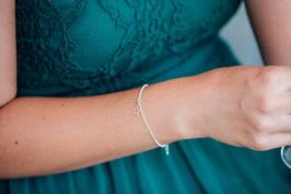 1 kleiner Stern 925 Silberarmband Bicolor
