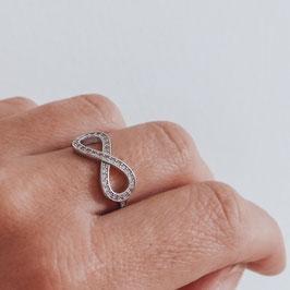 verstellbarer Silberring Infinity Zirkon  925 Silber