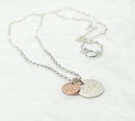 Dein Name 925 Silberkette / Namenskette Bicolor