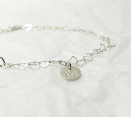 lauter kleine Herzen Initial Herzarmband 925 Silberarmband