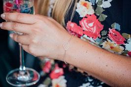 Herzarmband DrahtHerz 925 Sterling Silber rosevergoldet  Bicolor