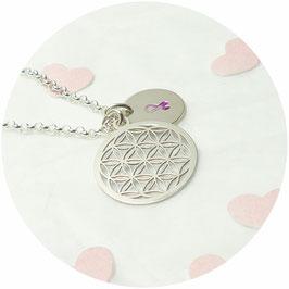 925 Silberkette - Blume des Lebens und Schleife - handgefertigt