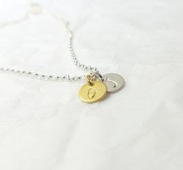 Namenskette 2 Plättchen 1 x Silber und 1 x vergoldet 925 Silberkette
