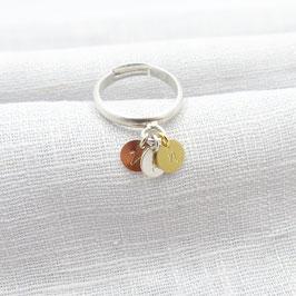 verstellbarer Silberring mit 3 kleinen Plättchen  925 Silber Bicolor