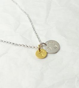 2 runde Initialen 925 Silberkette vergoldet