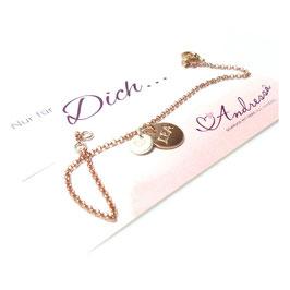 rosévergoldetes Namensarmband mit Initialen 925 Silberarmband