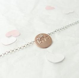 Love Plättchen rose 925 Silberarmband Bicolor