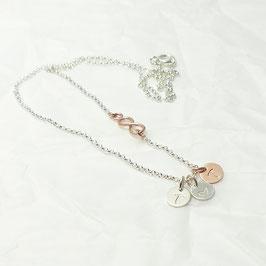 3 Initialen & Infinity 925 Silberkette