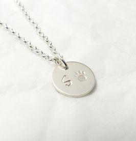 Pfote + Wunschbuchstabe 925 Silberkette handgefertigt