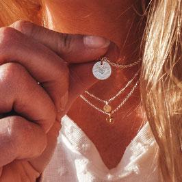 filigran geflochtene Silberkette Crushed Heart 925 Sterling Silber Bicolor