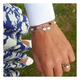 Infinity & blauer Sodalith und weiße Koralle 925 Silberarmband - Something Blue