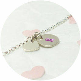 925 Silberarmband - Herz und Schleife - handgefertigt